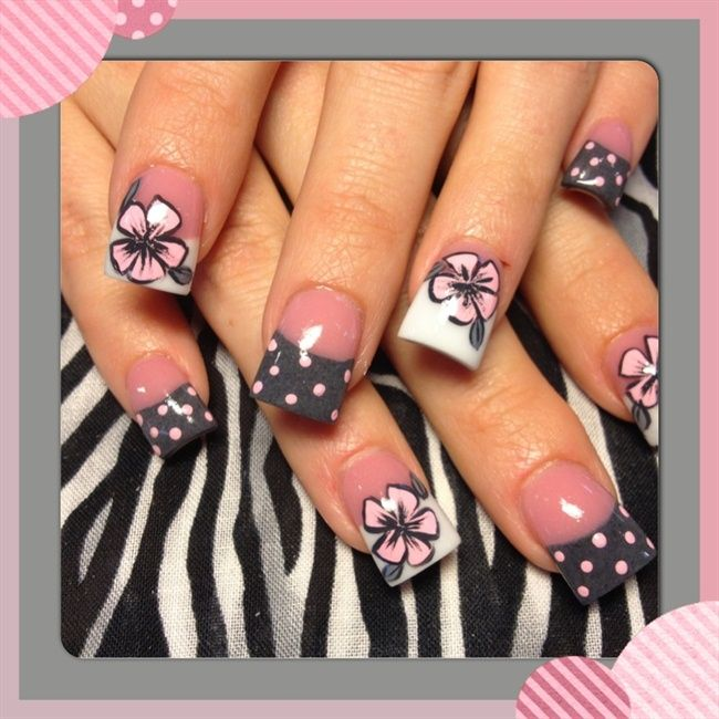 Pink and grey flowers - Nail Art Gallery