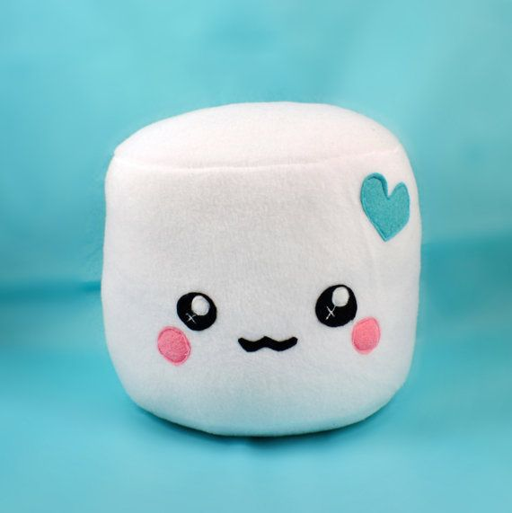 Marshmallow plushie - pillows cushions chocolate dipped novelty round kawaii…