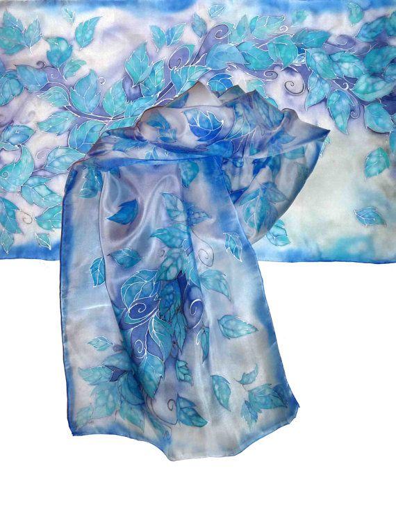 Morning in Mirkwood   Handpainted silk scarf elven by JankaLart