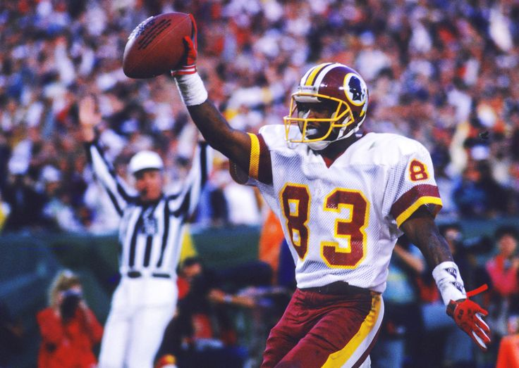 January 31, 1988- Rickey Sanders scores on a 80 yard touchdown as the Redskins prepare to explode in the 2nd quarter of Super Bowl XXll.