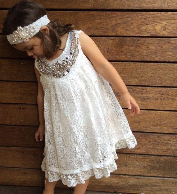 Girls Christening Dress. Girls White Dress. by LilTreasuresAust