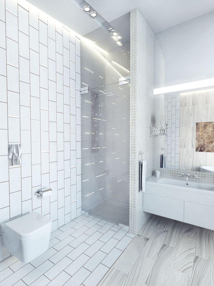 Душ в ванной, душевая кабина.  Световые акценты из светодиодной ленты и оргстекла