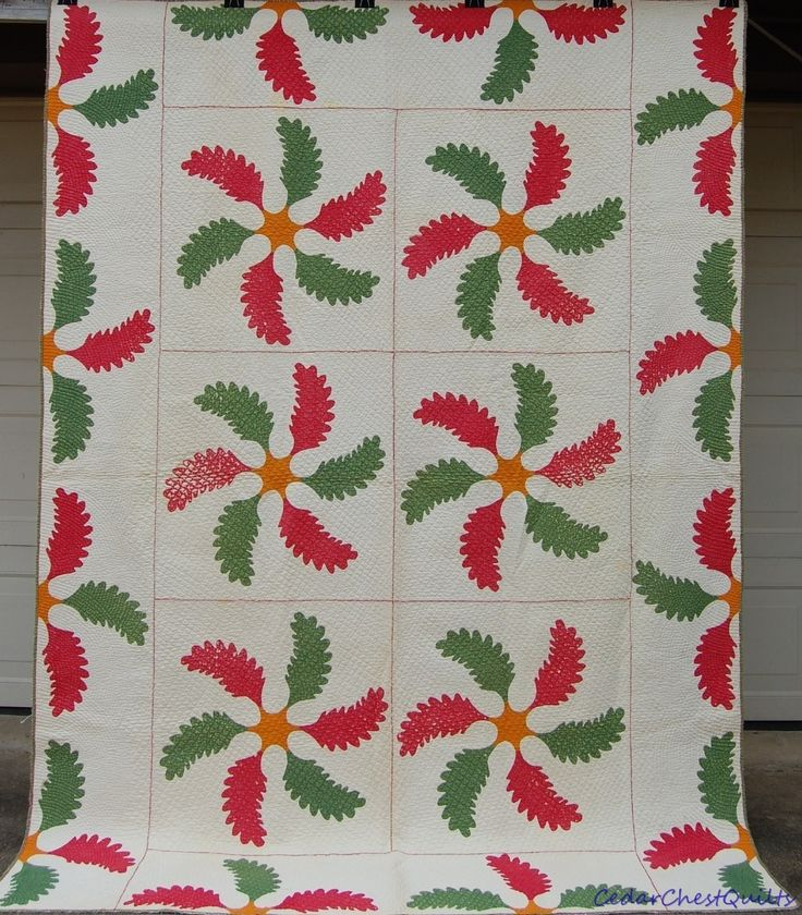 ANTIQUE MID 1800s PRINCESS FEATHER QUILT~TURKEY RED~CHEDDAR~GREEN~DENSE QUILTING