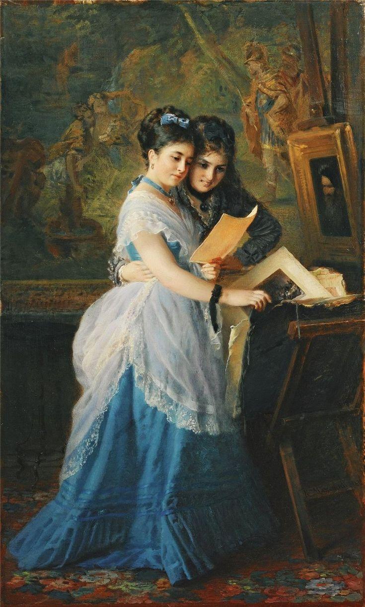 Russian Paintings Of Women Two Ladies Look...
