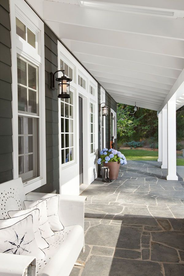 Dark shake siding with white trim is so pretty and probably easier to keep clean that a white house. Cape Cod style waterfront estate in Vancouver by Jodi Foster Design