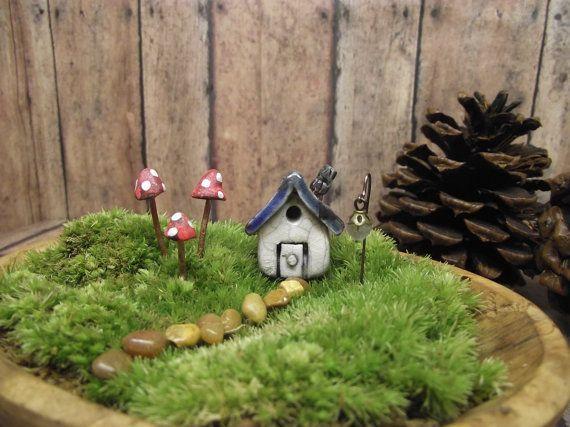 Miniature Raku Fired House with 3 Mushrooms and 1 by GypsyRaku