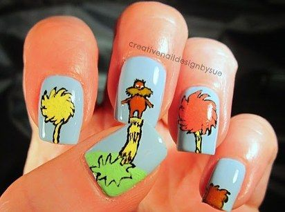 The Lorax by Dr. Seuss | 25 Insanely Cool Nail Art Designs Inspired By Books