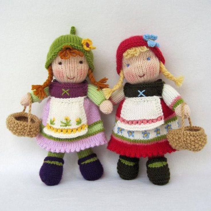 Fern and Flora - Knitted Dolls with cute dresses - find the pattern on LoveKnitting!