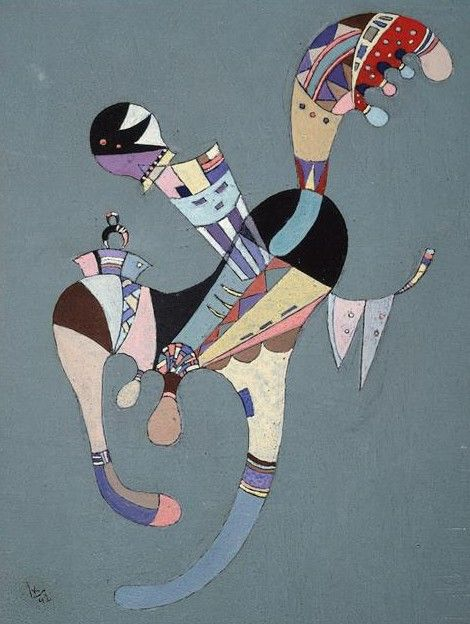 Painter Wassily Kandinsky. Painting. A floating figure. 1942 year