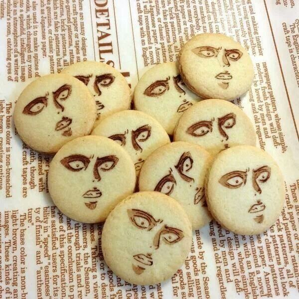 Rivaille (Levi) cookies ~~~~~~~~~~~~~~~~~~~~~~~~~ I'm laughing way harder than I should be...