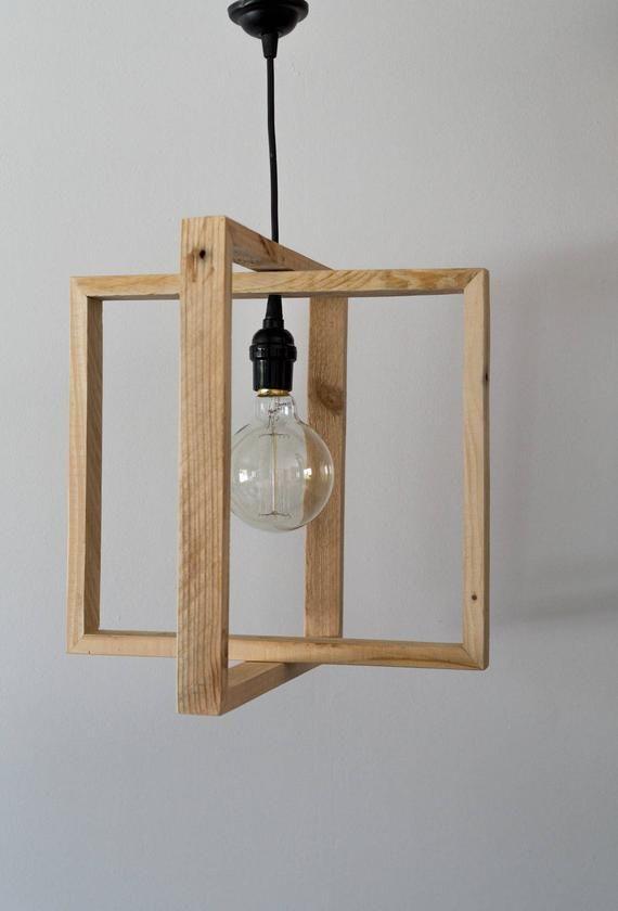 Wooden Hanger Wooden Wooden Suspension Lamp Light Natural Wood