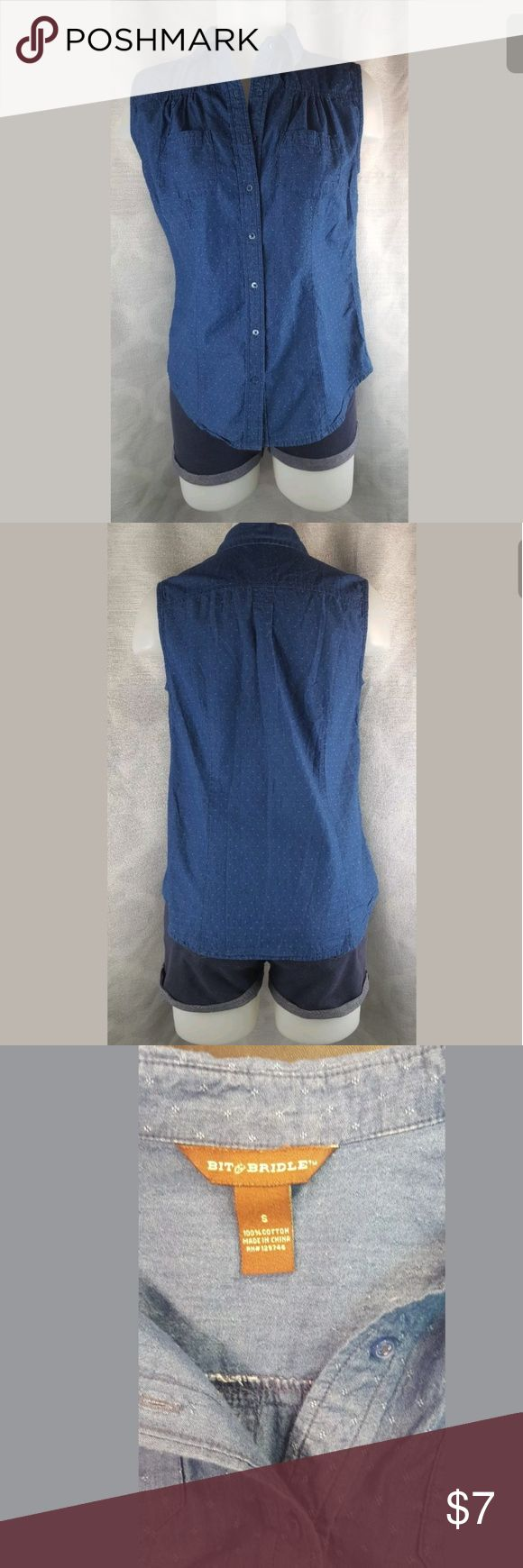 """Small sleeveless denim shirt button front By Bit & Bridle...2 front pockets and polka dot design print.  Measures 18"""" across the bust armpit to armpit.  Shirred design ontop Bit & Bridle Tops Button Down Shirts"""
