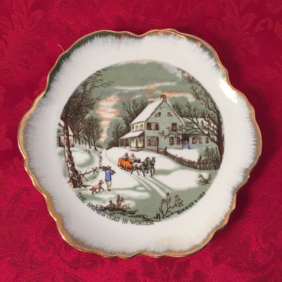 Currier and Ives The Homestead in Winter Vintage Collector Plate 7 Inch Gold Trim Wall Hanging