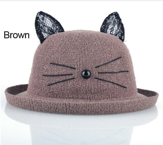 Summer Straw Hat With Cute Cat Ears For Women Wide Brim Beach Hats Headgear For Girls Casual Sun cap Chapeau Paille Feminino #BeachHatsForWomen
