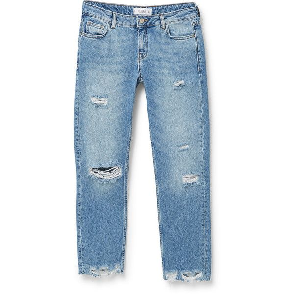 MANGO MANGO Straight-Fit Joe Jeans ($70) ❤ liked on Polyvore featuring jeans, trousers, distressing jeans, destructed jeans, distressed cropped jeans, straight-leg jeans and zipper jeans