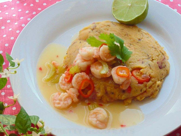 Turn Cornmeal with sweet chilli, and lime prawns. It is the Caribbean version of polenta