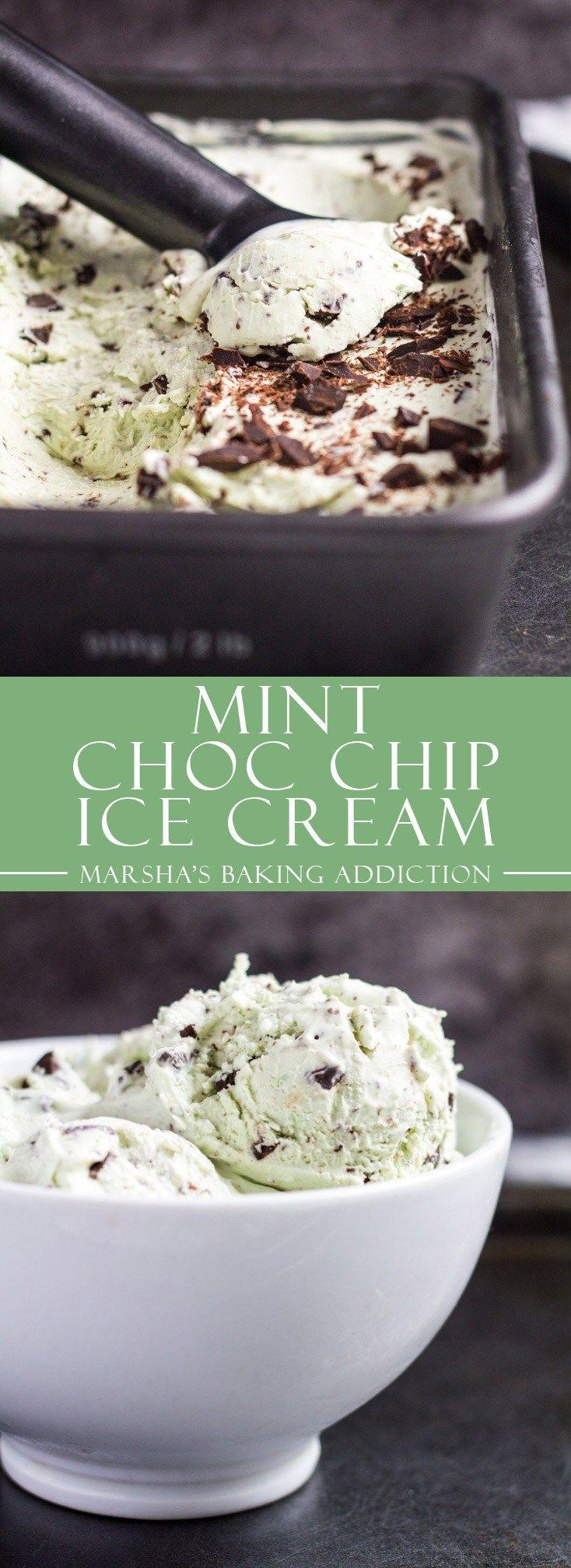 No-Churn Mint Chocolate Chip Ice Cream | marshasbakingaddiction.com @marshasbakeblog
