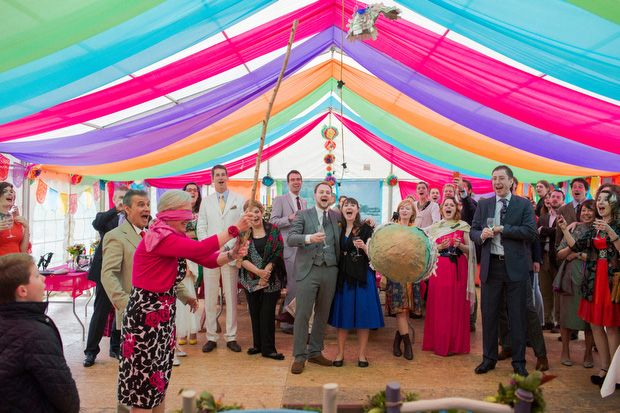 Colourful wedding marquee