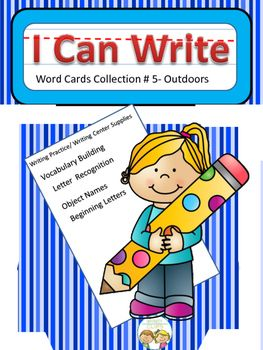 The possibilities are endless with this 25 card set of cards. Each card has a picture plus the written word. Students can use them to build the connection between written and spoken words. Cards can be used to build letter recognition and  writing skills.