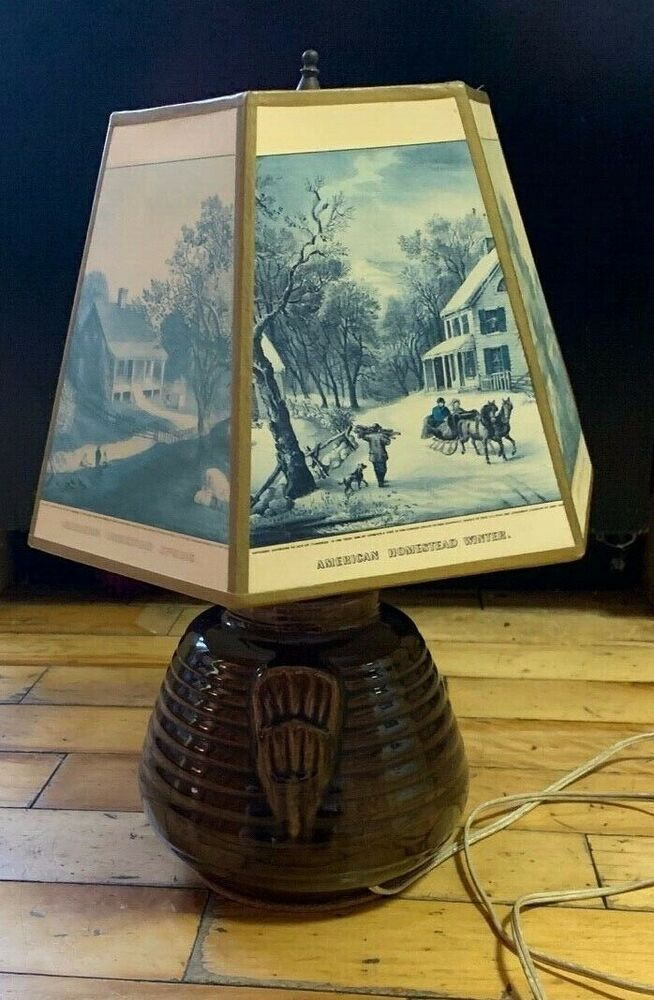 Elec Vintage Original Currier Ives Table Lamp Ceramic Shade Kitch Shabby Chic In 2020 Lamp Table Lamp Currier And Ives