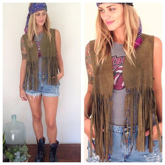 vintage boho hippie fringed leather vest by threethriftygypsies, $38.00