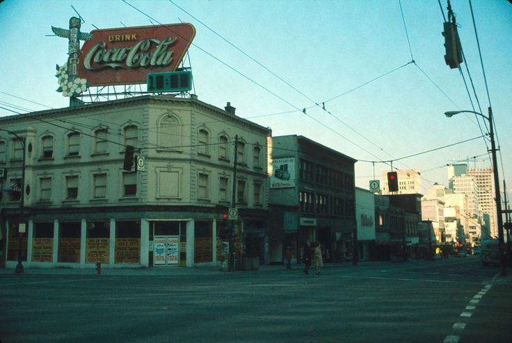 Northwest corner of Granville and Georgia, Vancouver, January 30 1972, before the construction of Pacific Centre.  Picture by Ernie H Reksten