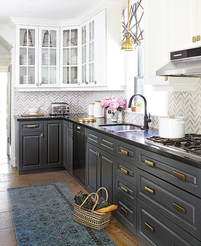 The Best Black Paint Colours from Benjamin Moore for any room in your home. Dual kitchen cabinets - bottom are painted in Wrought Iron by Benjamin Moore