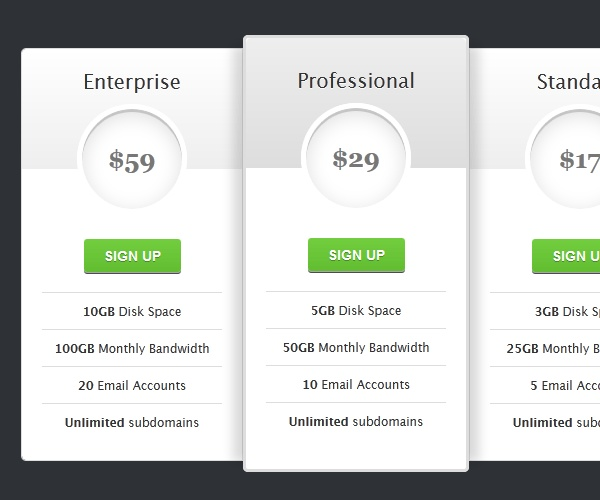 css3 tutorial pricing table free html5 templates x free css3 menus