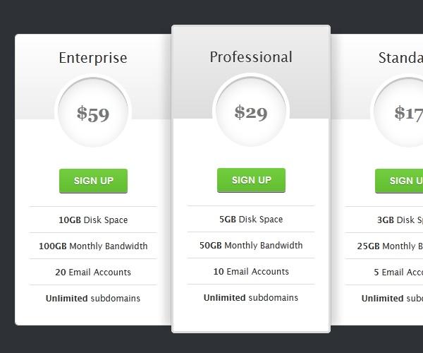 css3 tutorial pricing table free html5 templates x free css3 menus