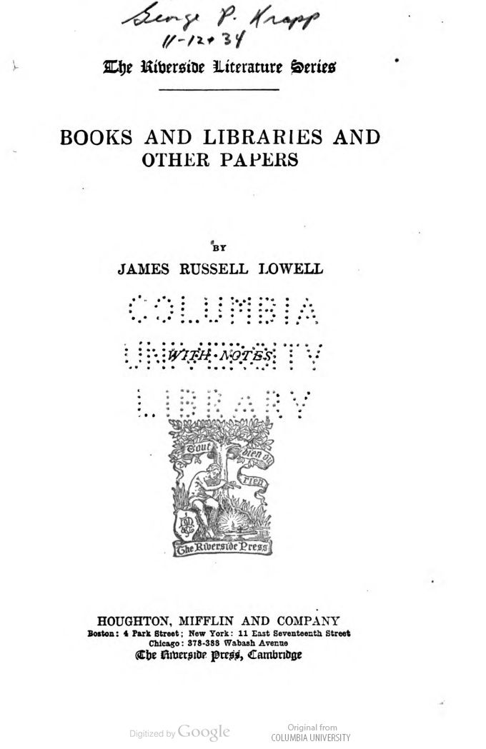 Books and LIbraries by James Russell Lowell