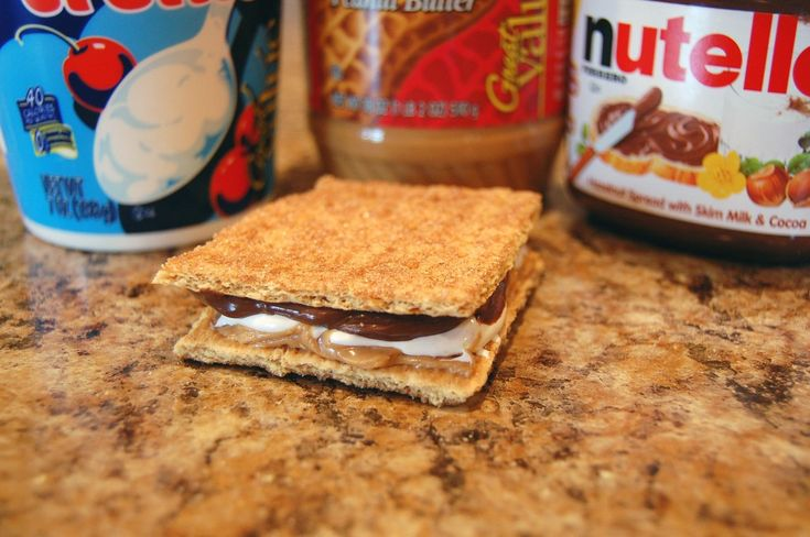 PB cheater smores - graham crackers, creamy peanut butter, Nutella and Marshmallow Cream