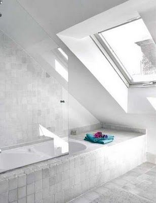 love how this bathroom works with the slope of the roof