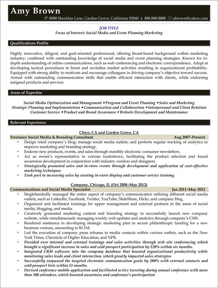 event planner resume templates social media planning marketing sample template freelance