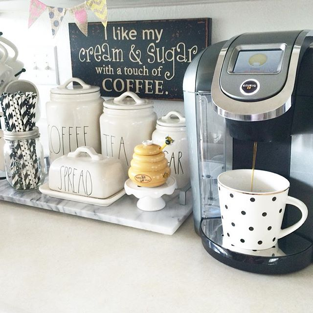 Coffee/tea bar. How cute is that honey container? Love! ❤