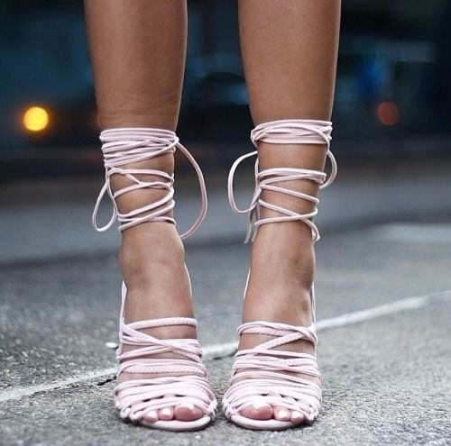 pink, strappy, wrap around heels they are just gorgeous