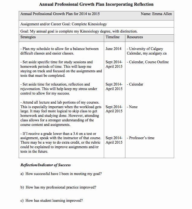 Professional Development Plan For Teachers Examples Awesome Emma S