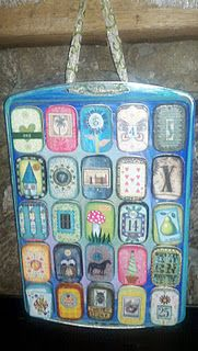 altoid tin advent calendar - love, love, love this idea!  And it would n't have to be filled with gifts, just the fun of putting up and seeing the next number/picture would work, too.  Paint the numbers on the cookie tray then have them pick a new picture for each day.