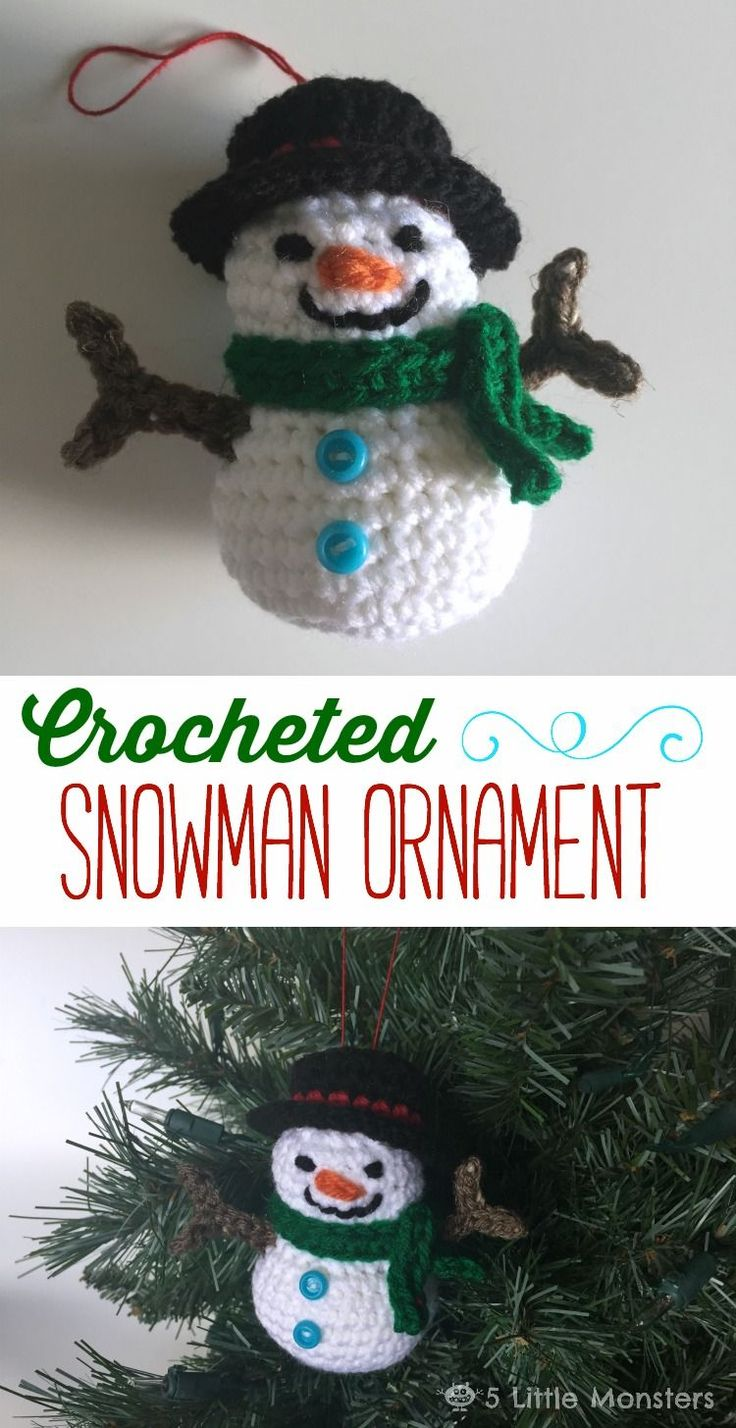 Rock climbing christmas ornaments - Create This Adorable Crocheted Snowman Ornament For Your Tree With This Step By Step Tutorial