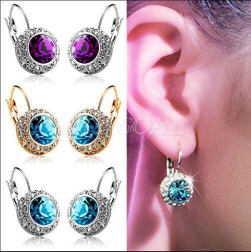 1 Pair Women Fashion Rhinestone Crystal Dangle Earrings Ear Hook Stud Jewellery #Fashion