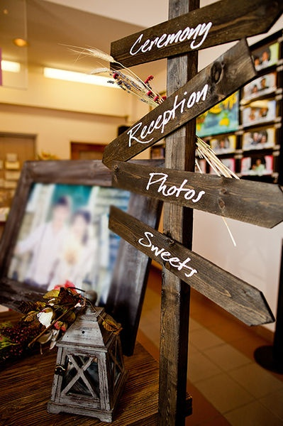 """Rustic wedding theme - but could be adapted for many different themes. I love the idea of """"road signs"""" to direct guests where to go (if we're in a venue that would lend itself to this)."""