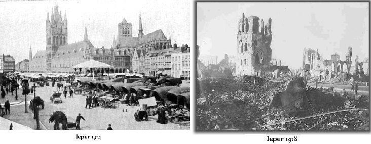 Ieper in West-Vlaanderen Op deze plek zijn 5 veldslagen uitgevochten, het is ook de eerste plek waar een gasaanval plaatsvond. Er zijn in deze plaats ongeveer een half miljoen mensen gesneuveld. Dit maakt het dus een belangrijke stad tijdens de Eerste Wereldoorlog.