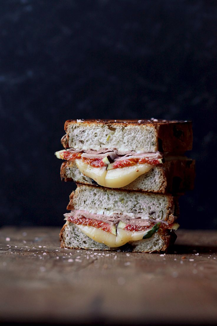 www.natalieengphotography.com Grilled Cheese Sandwich of Feta, Figs, Honeyed Ham & Fontina Cheese