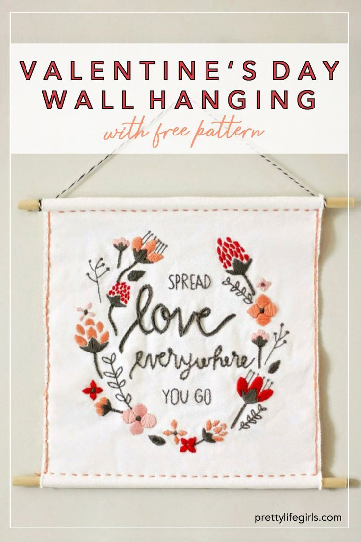 Diy Valentine S Day Wall Hanging Free Template The Pretty Life Girls In 2020 Handmade Valentine Gifts Valentines Diy Valentine S Day Diy