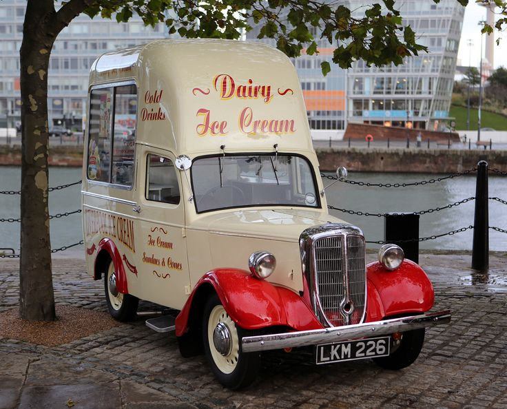 Vintage Jowett Bradford Ice Cream Van at Liverpool Albert Dock
