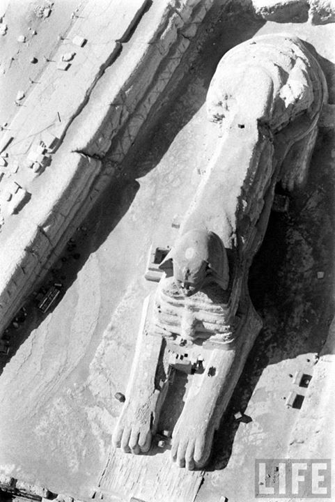 The Sphinx in an arial photo Now fully excavated from sands that once covered it all but the head.