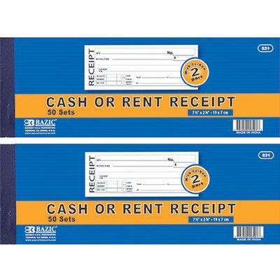 Bazic 2-Part Cash or Rent Receipt Quantity: Case of
