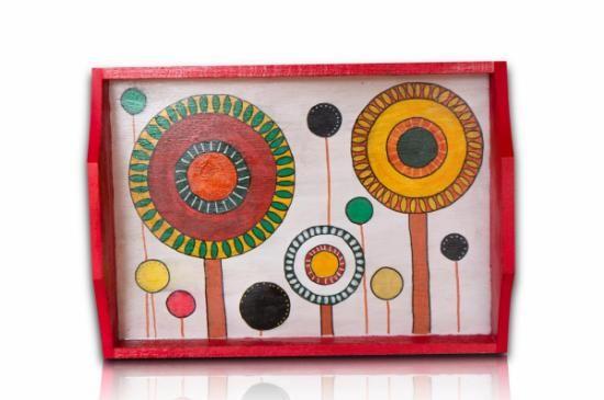 bandeja madera pintada con acrílicos  bandeja madera,pinturas acrílicas,barniz pintura acrílica,rotuladores acrílicos