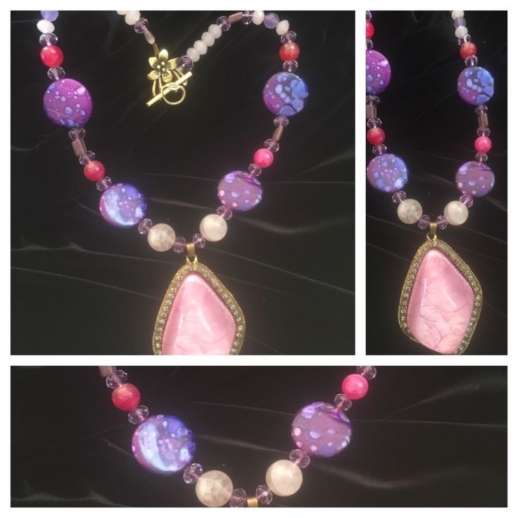 Pink and Purple necklace, with Rose quartz, Glass and metal beads.