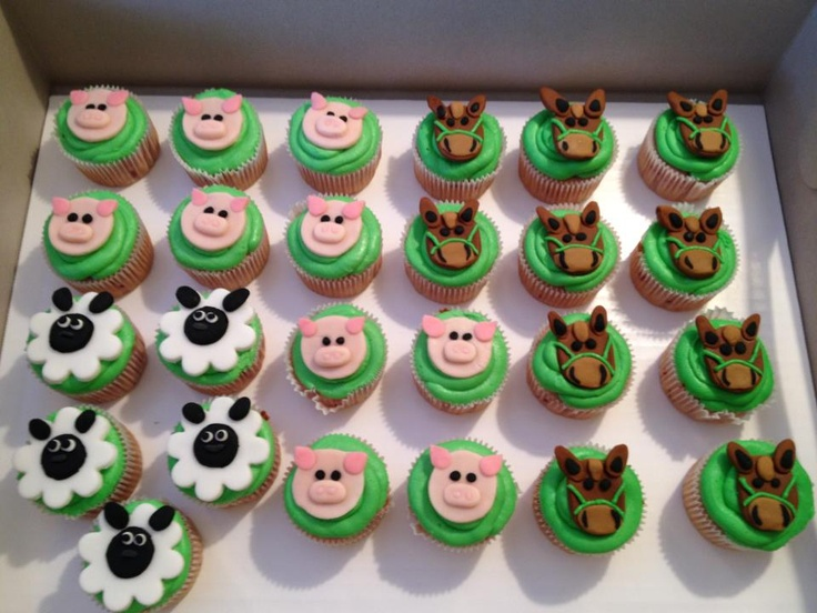 Cute Farm Themed Cupcakes Country Fair Farm Birthday