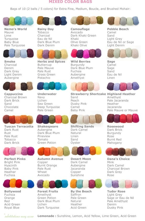 Love this! Color schemes for crocheted blankets or throws. You could also use them on scarves and hats.